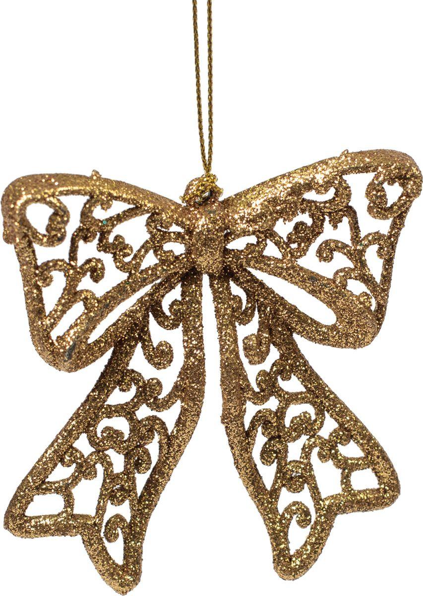 Новогоднее подвесное елочное украшение Magic Time Бантик, цвет: золотой, 9 х 9 х 1 см украшение елочное звезда барокко 8 8 см черный золотой 1 шт в пакете