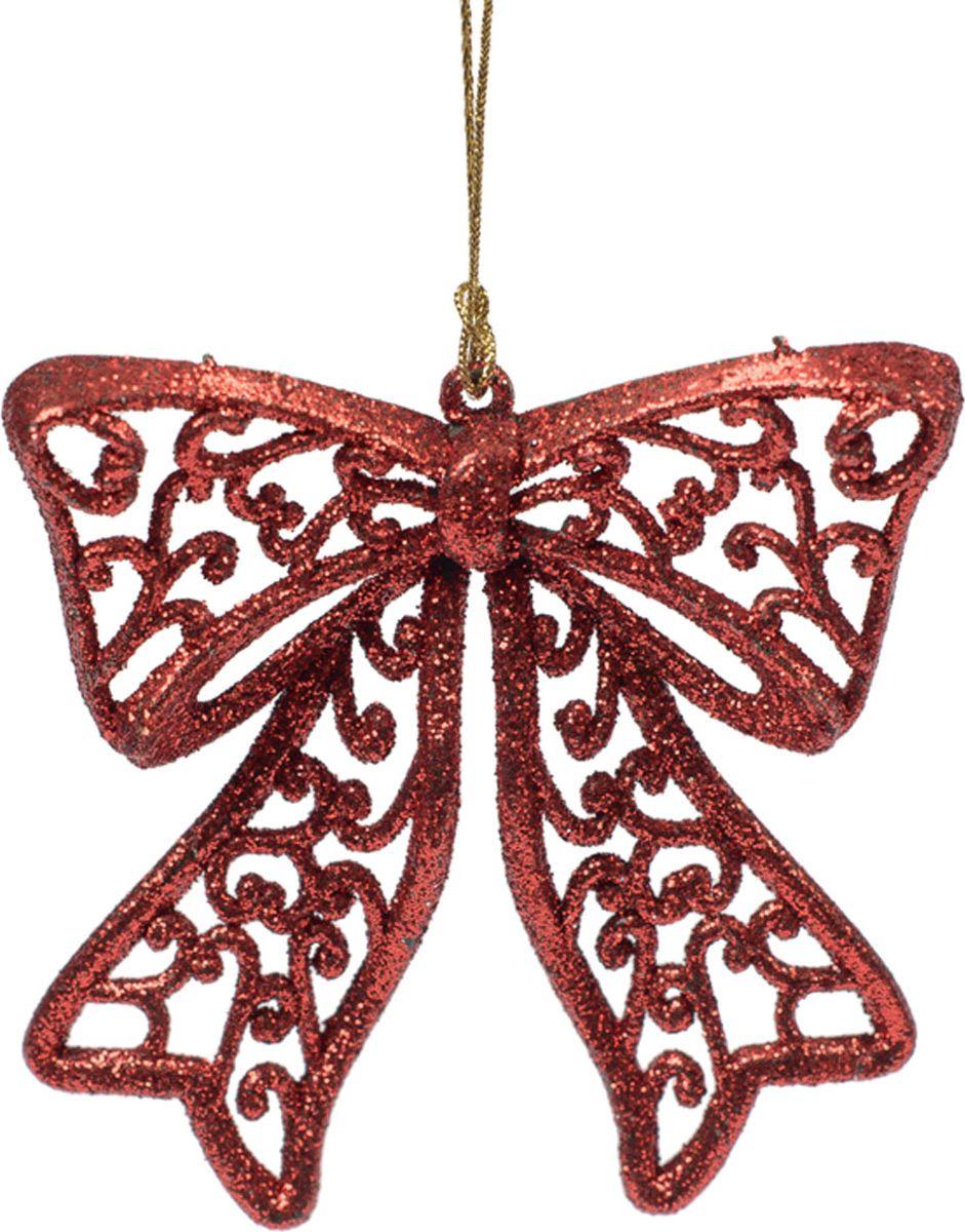 Новогоднее подвесное елочное украшение Magic Time Бантик, цвет: красный, 9 х 9 х 1 см украшение елочное шар красный с блестками 13 см красный полимерный материал