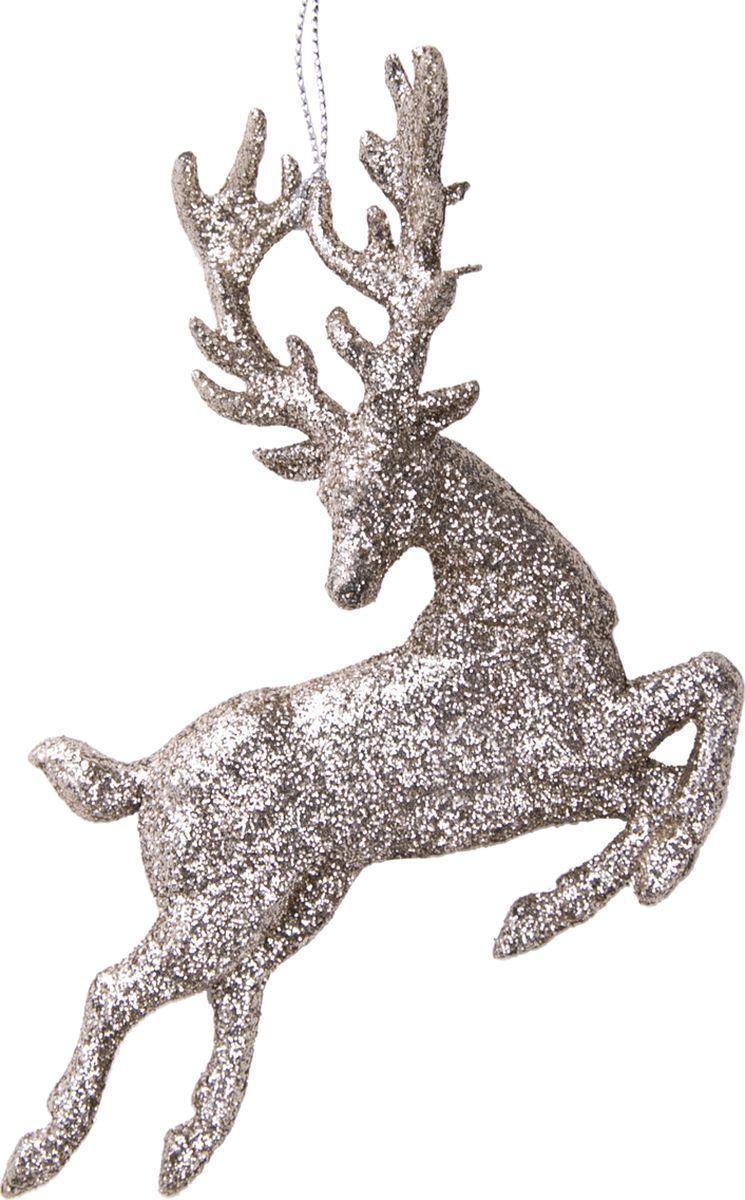 Новогоднее подвесное елочное украшение Magic Time Олень, цвет: золотой, 13 x 13 x 2 см новогоднее подвесное елочное украшение magic time сердце цвет серебряный 10 5 x 9 5 x 0 3 см