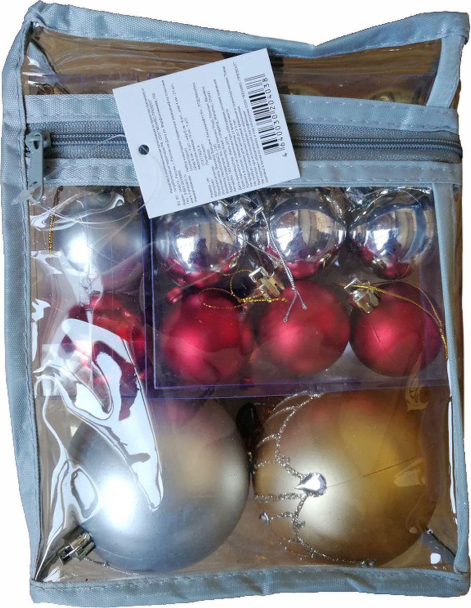 """Набор новогодних подвесных украшений Magic Time """"Ассорти"""", цвет: золотой, серебряный, красный, 34 предмета"""
