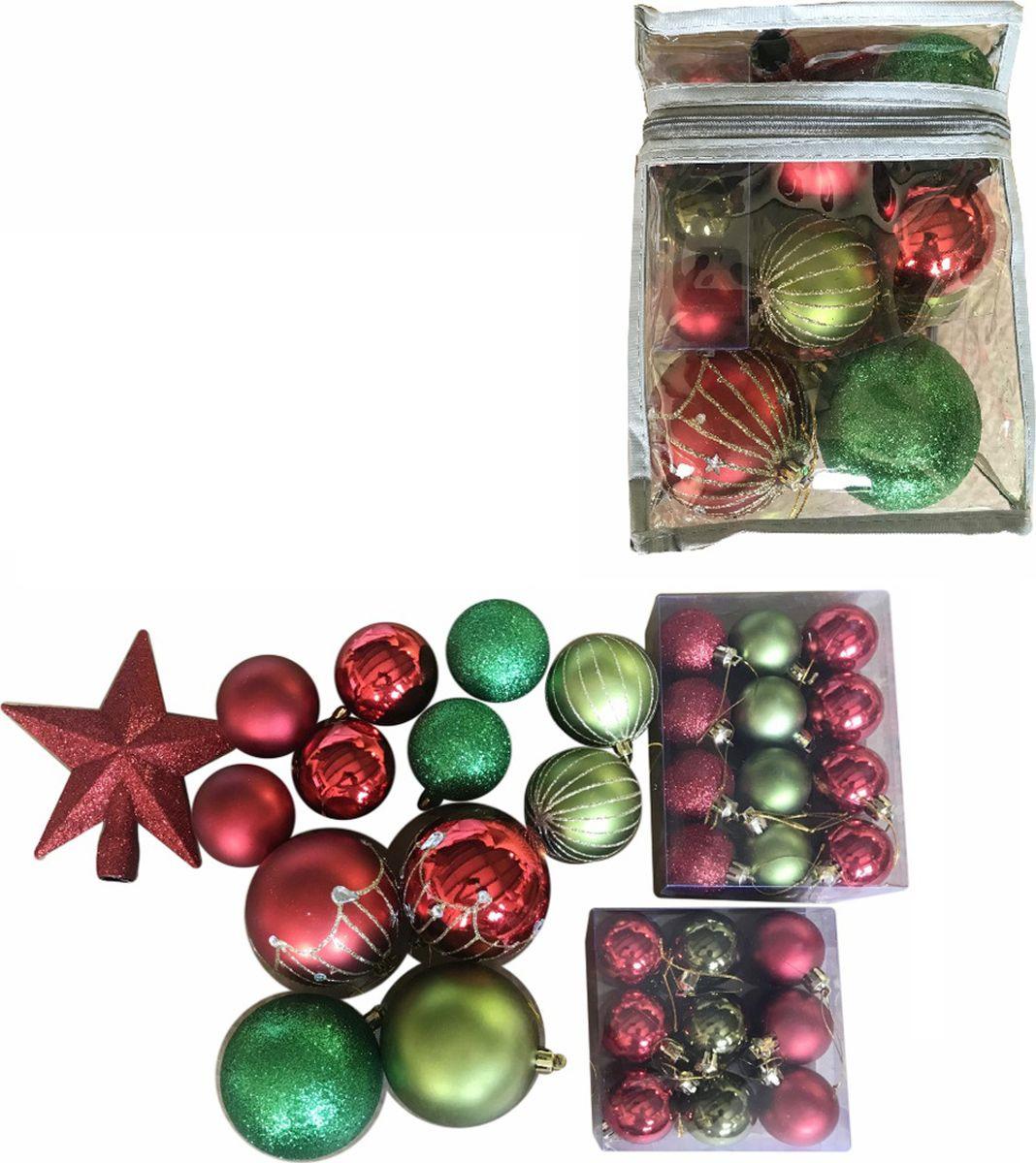 """Набор новогодних подвесных украшений Magic Time """"Ассорти"""", цвет: красный, зеленый, 34 предмета"""