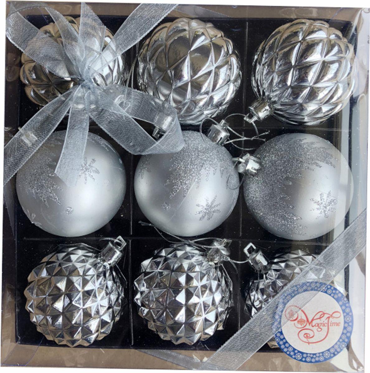 Набор новогодних подвесных украшений Magic Time Серебряные шары, 9 шаров набор подвесных новогодних украшений шары цвет золотистый красный 6 шт 26270