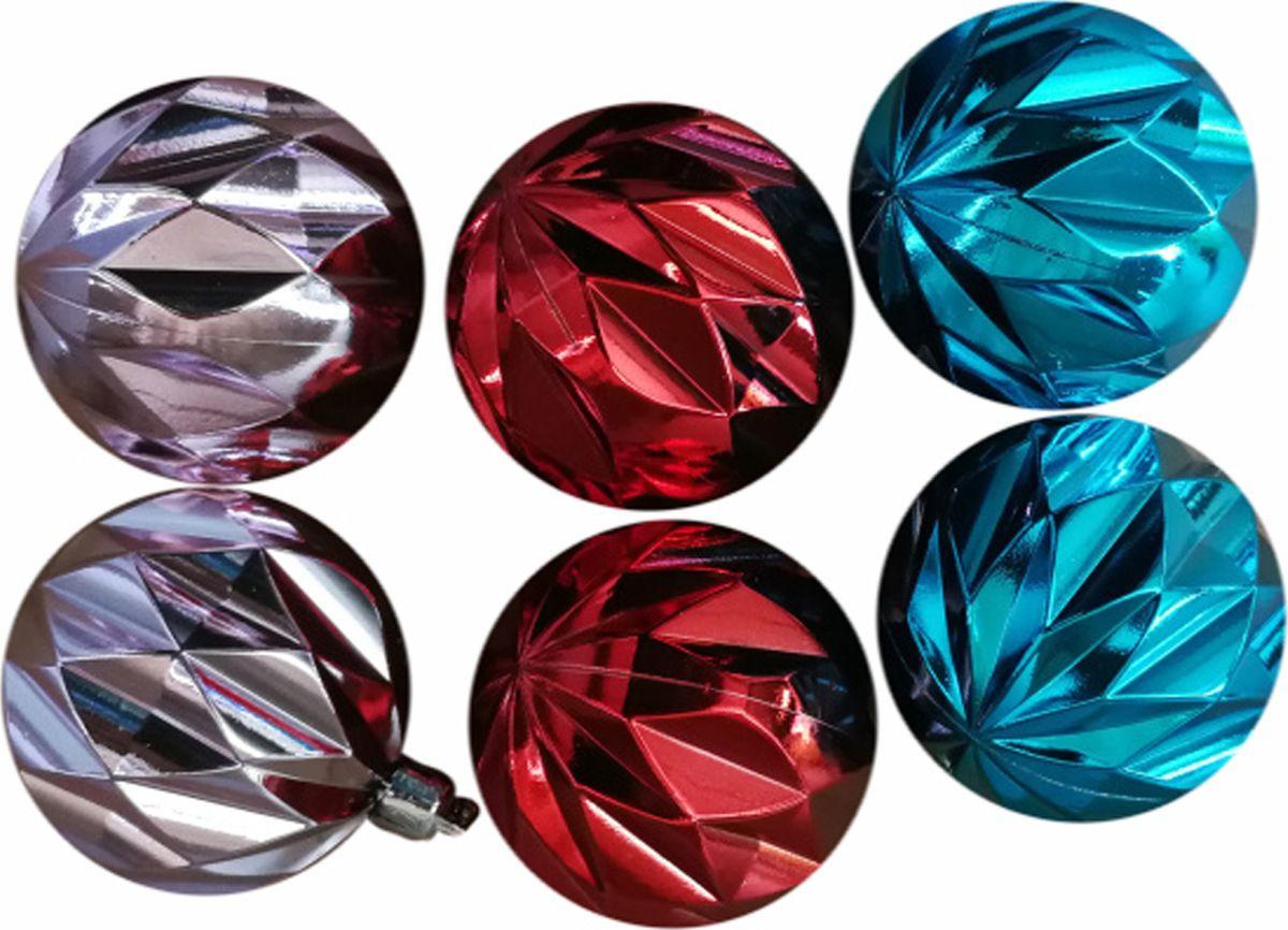 Набор новогодних подвесных украшений Magic Time Ассорти, цвет: голубой, розовый, красный, диаметр 6 см, 6 шт набор новогодних подвесных украшений феникс презент ассорти цвет красный диаметр 6 см 6 шт
