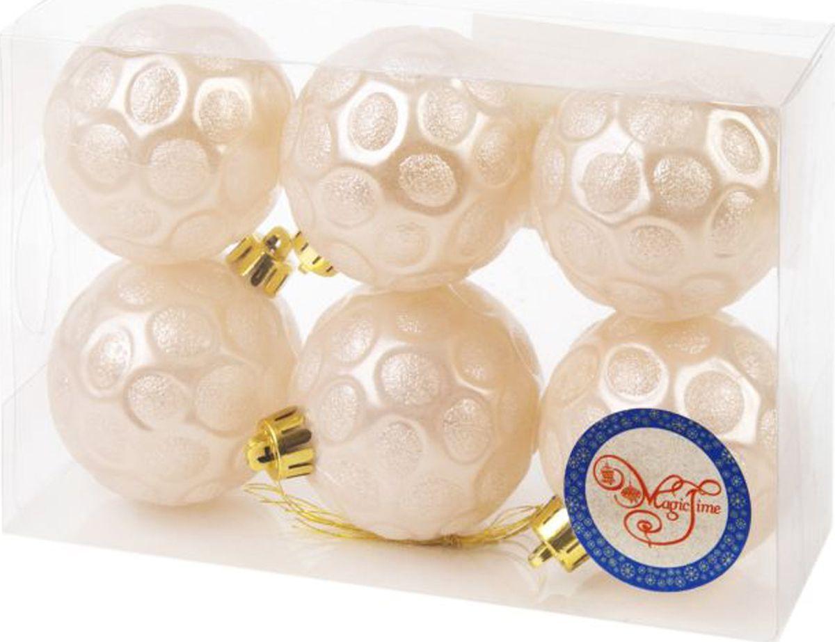 Набор новогодних подвесных украшений Magic Time Шары, цвет: белый, диаметр 6 см, 6 шт елочная игрушка русские подарки шары цвет золотой 6 шт