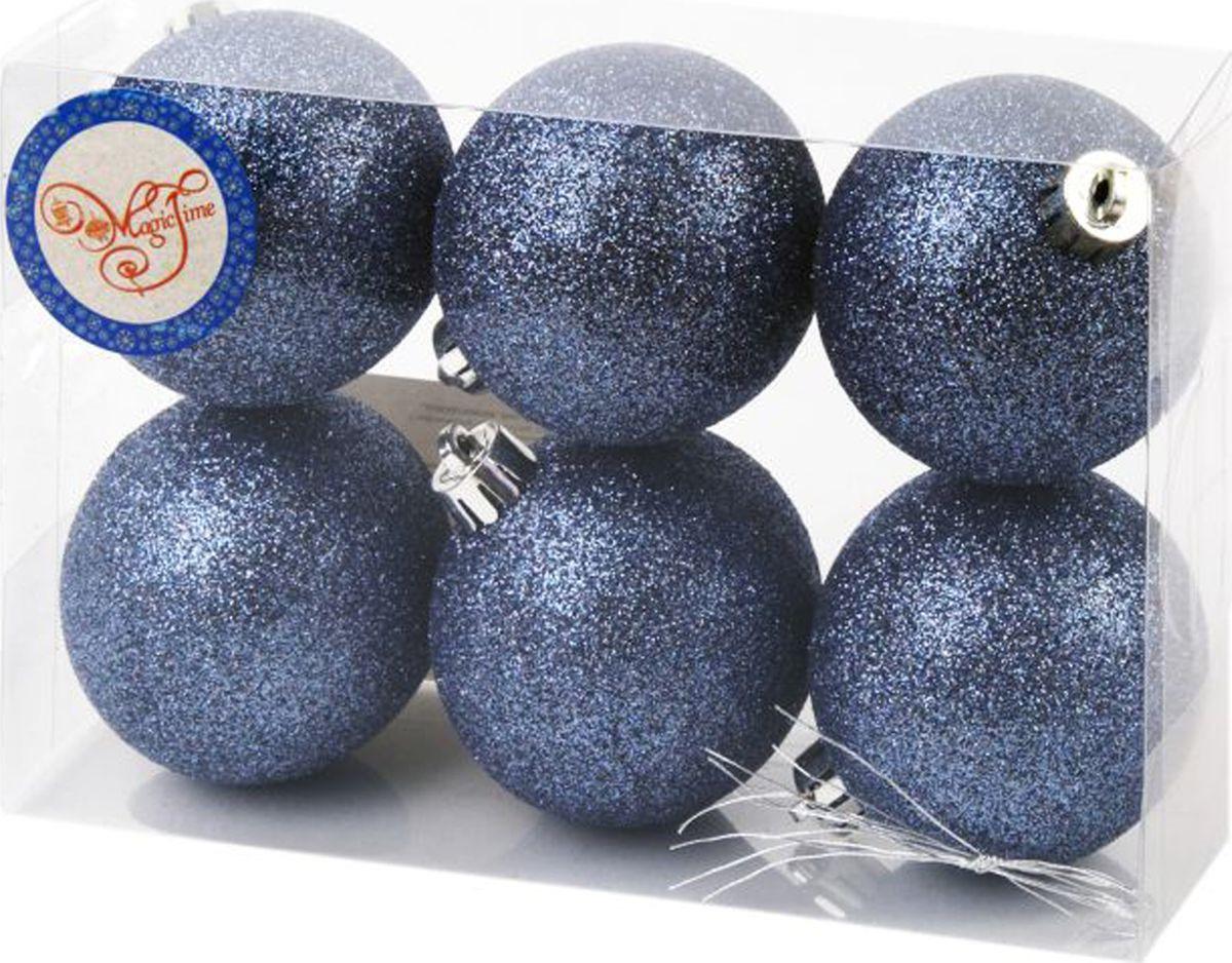 """Набор новогодних подвесных украшений Magic Time """"Шары"""", цвет: темно-синий, диаметр 6 см, 6 шт"""