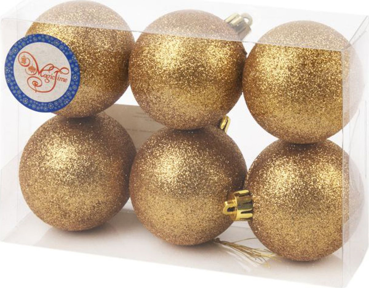 Набор новогодних подвесных украшений Magic Time Шары, цвет: золотой, диаметр 6 см, 6 шт елочная игрушка русские подарки шары цвет золотой 6 шт