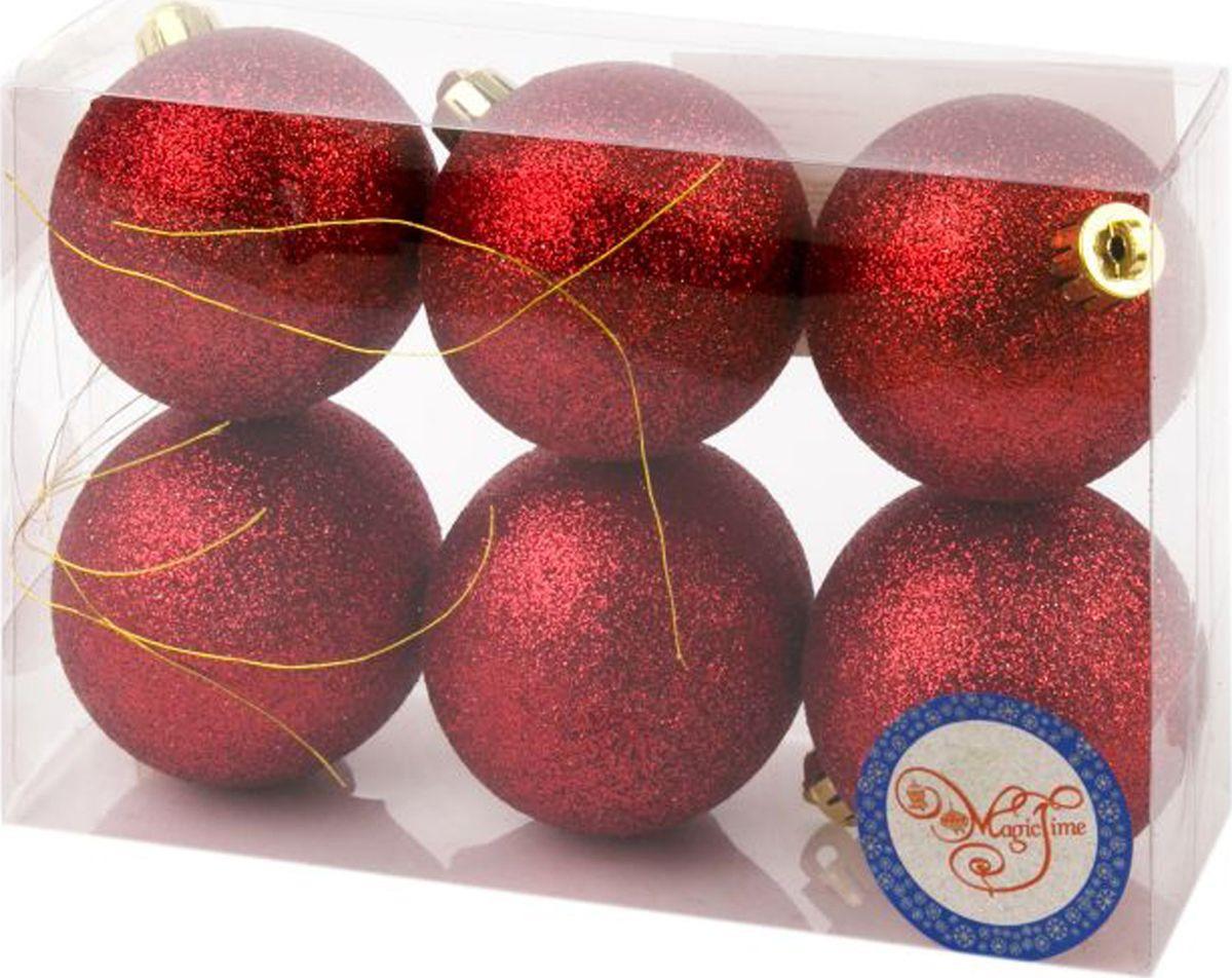 Набор новогодних подвесных украшений Magic Time Шары, цвет: красный, диаметр 6 см, 6 шт елочная игрушка русские подарки шары цвет золотой 6 шт