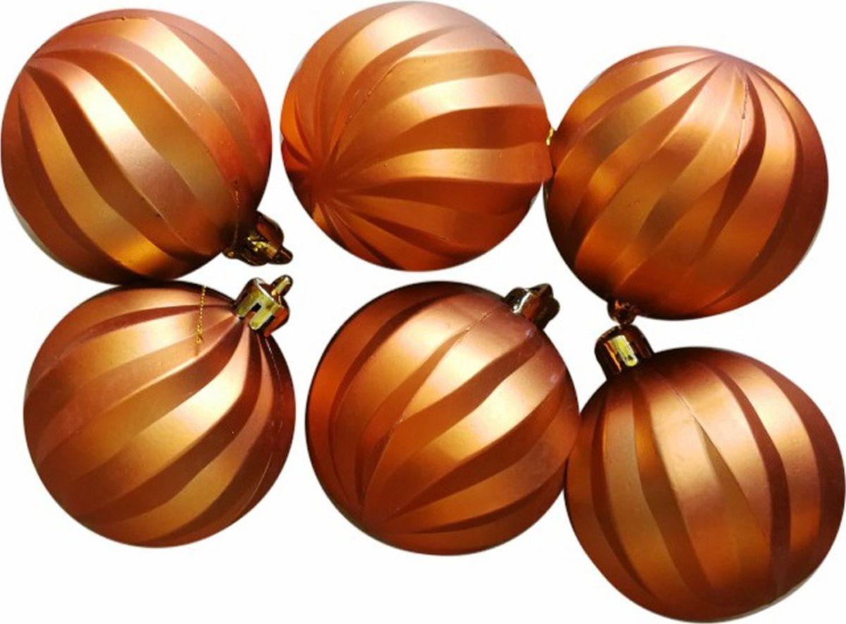 """Набор новогодних подвесных украшений Magic Time """"Шары"""", цвет: оранжевый, диаметр 6 см, 6 шт"""