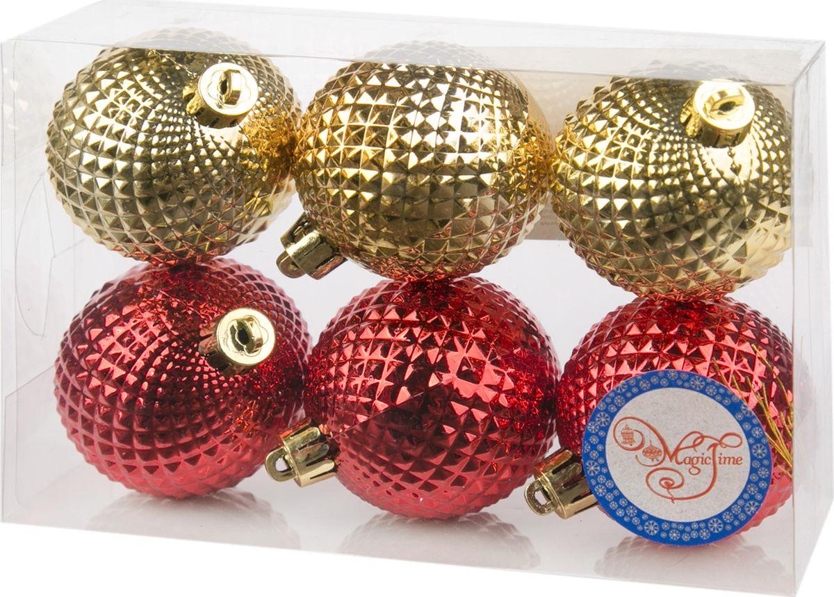 Набор новогодних подвесных украшений Magic Time Ассорти. Шары, цвет: золотой, красный, 6 см, 6 шт набор подвесных новогодних украшений шары цвет золотистый красный 6 шт 26270