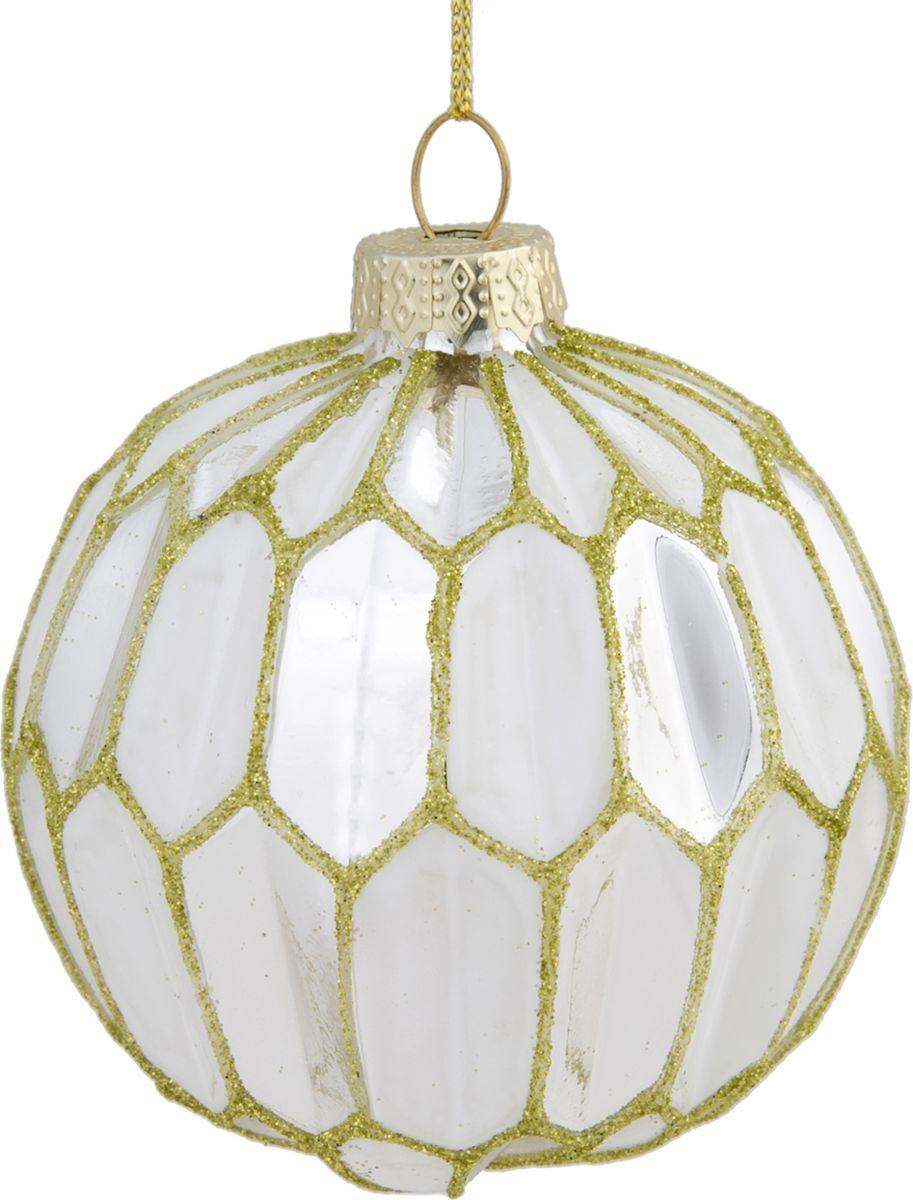 Новогоднее подвесное украшение Magic Time Шар, цвет: белый, золотой, 8 см