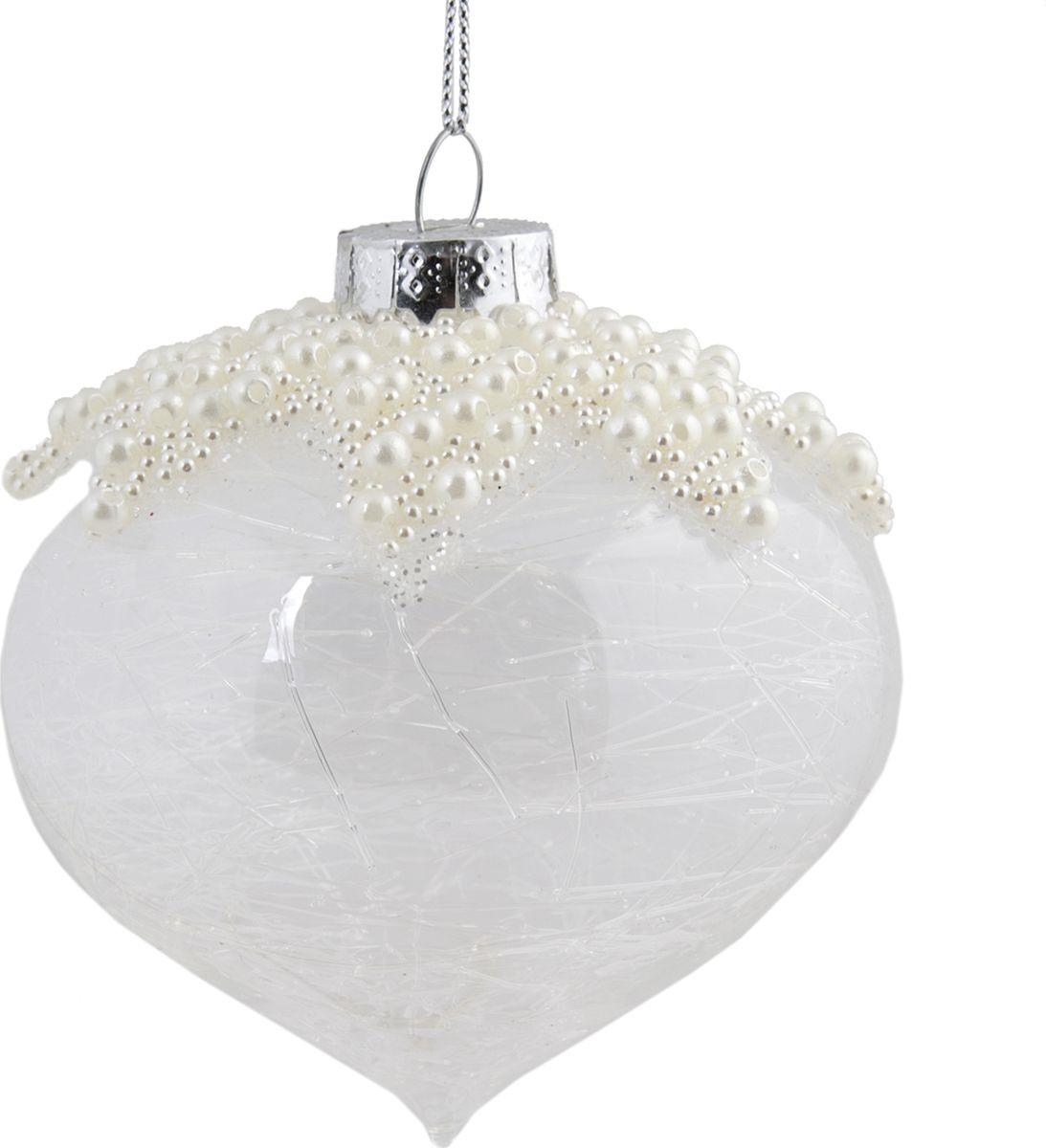 Новогоднее подвесное украшение Magic Time Шар, цвет: прозрачный, 8 см новогоднее подвесное украшение елочный шар цвет золотистый 25110