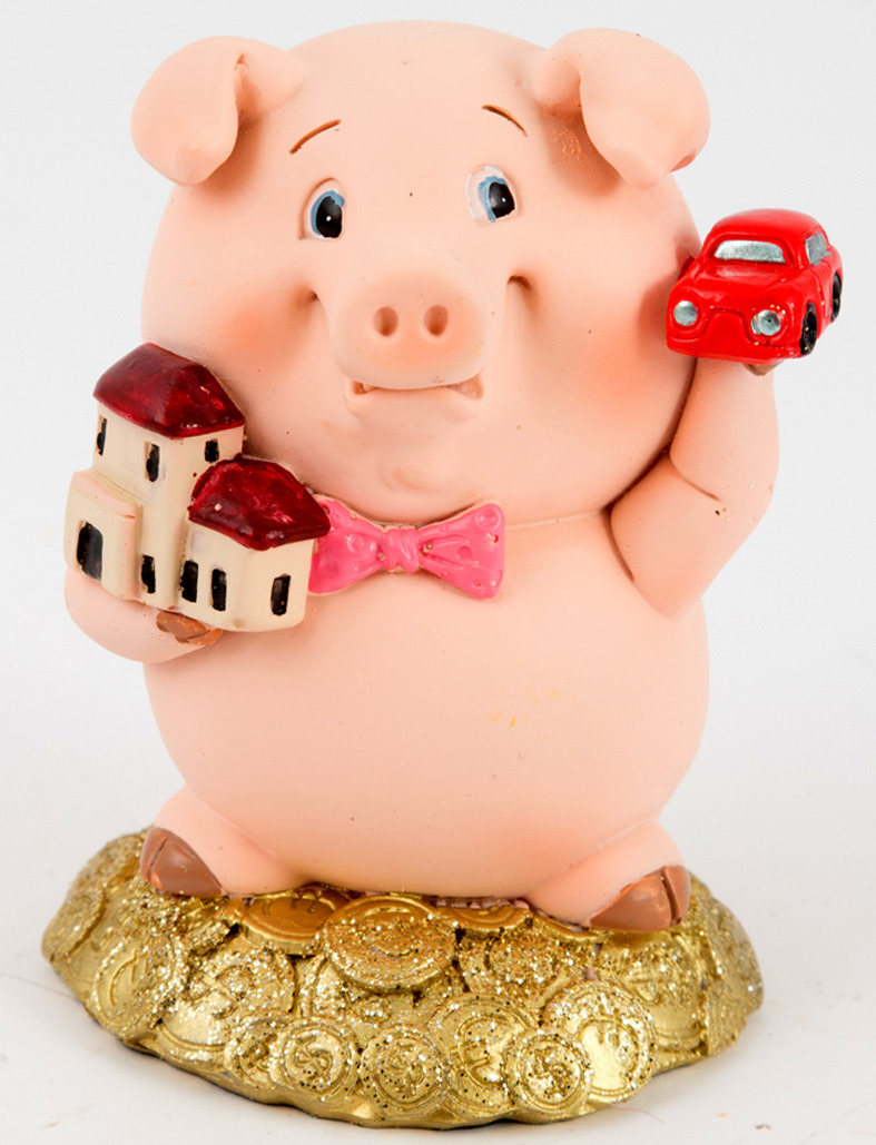 Фигурка декоративная Русские подарки Свинка, 7 х 6 х 9 см свеча декоративная win max каллы цвет кремовый 6 см х 6 см х 10 см