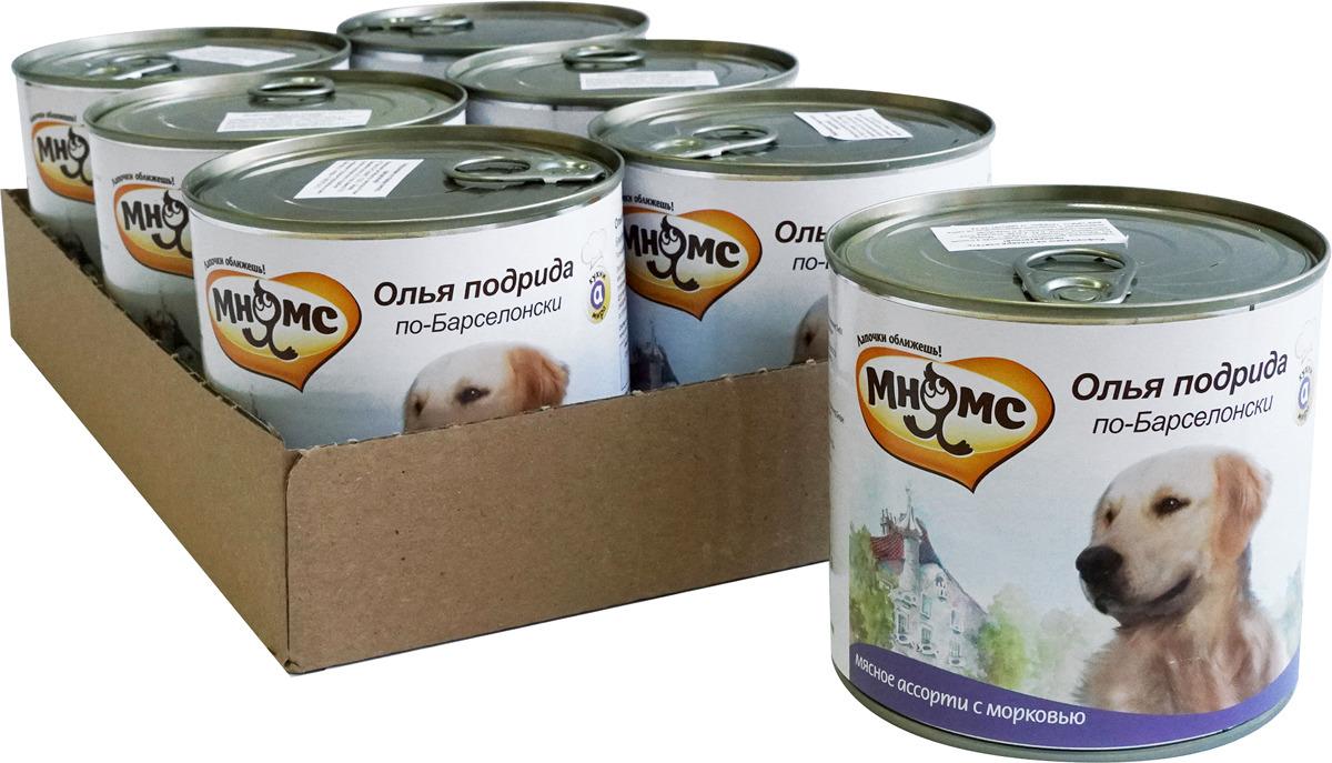 """Консервы для собак Мнямс """"Олья подрида по-Барселонски"""", мясное ассорти с морковью, 600 г х 6 шт"""