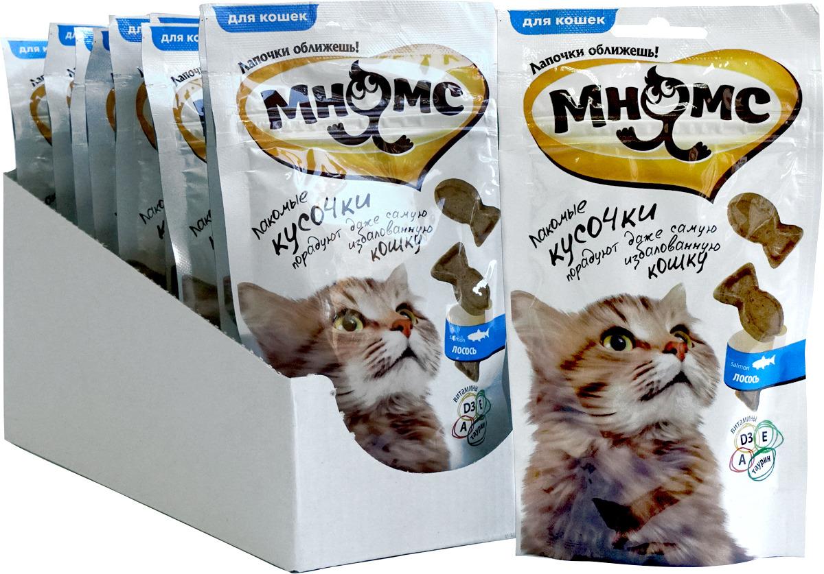 Лакомые кусочки для кошек Мнямс, со вкусом лосося, 35 г х 10 шт