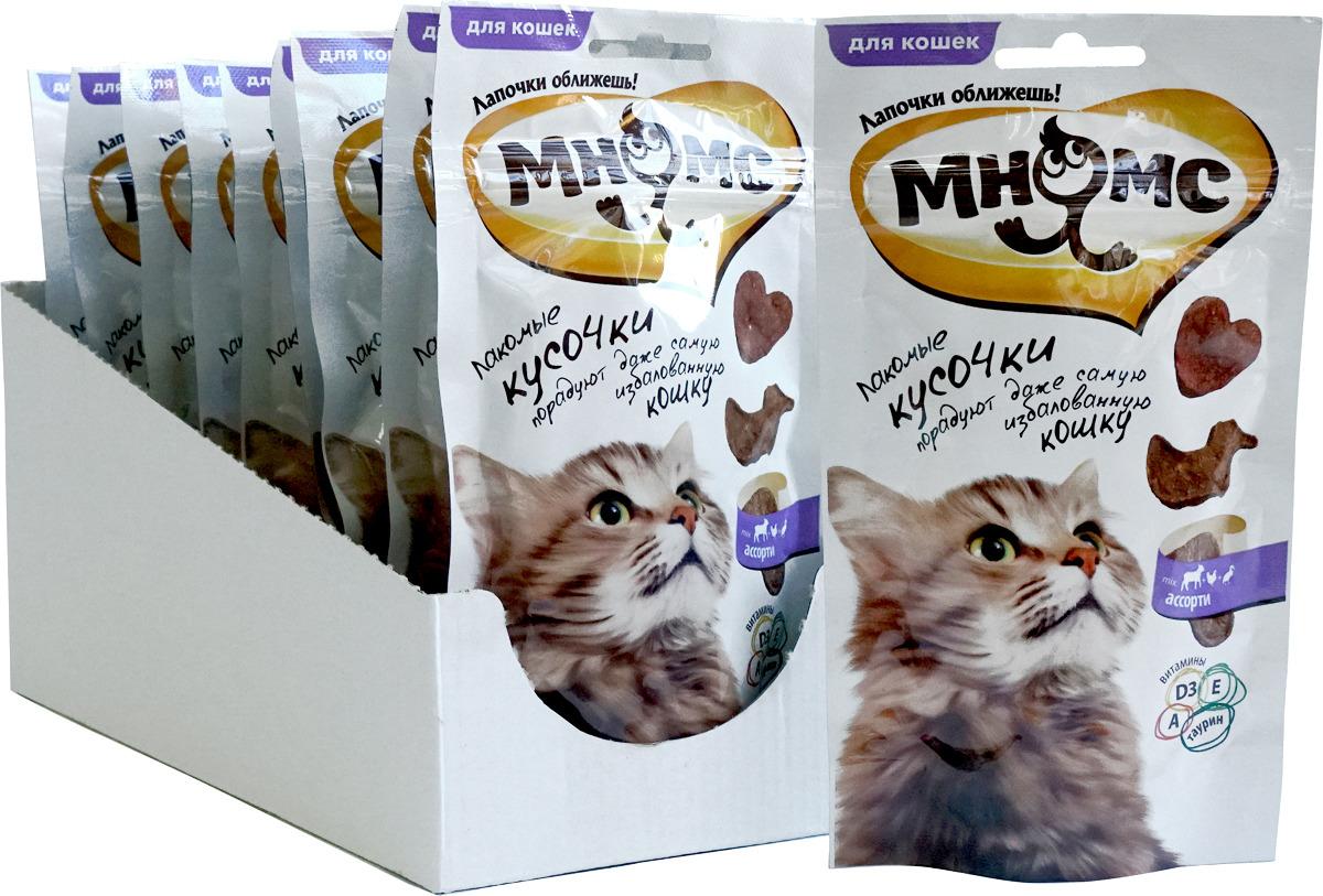 """Лакомые кусочки для кошек Мнямс """"Мясное ассорти. Курица, ягненок, утка"""", 35 г х 10 шт"""