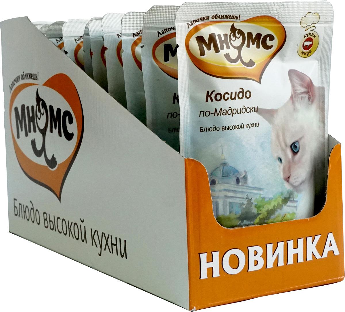 """Консервированный корм для кошек Мнямс """"Косидо по-Мадридски"""", с говядиной и морковью, 85 г х 12 шт"""