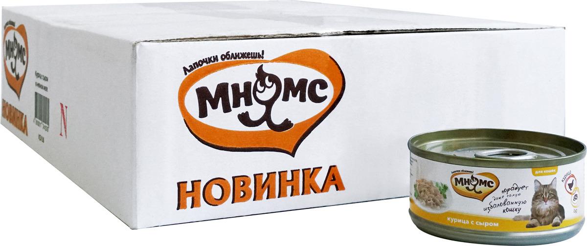 Консервы для кошек Мнямс, с курицей и сыром, 70 г х 24 шт