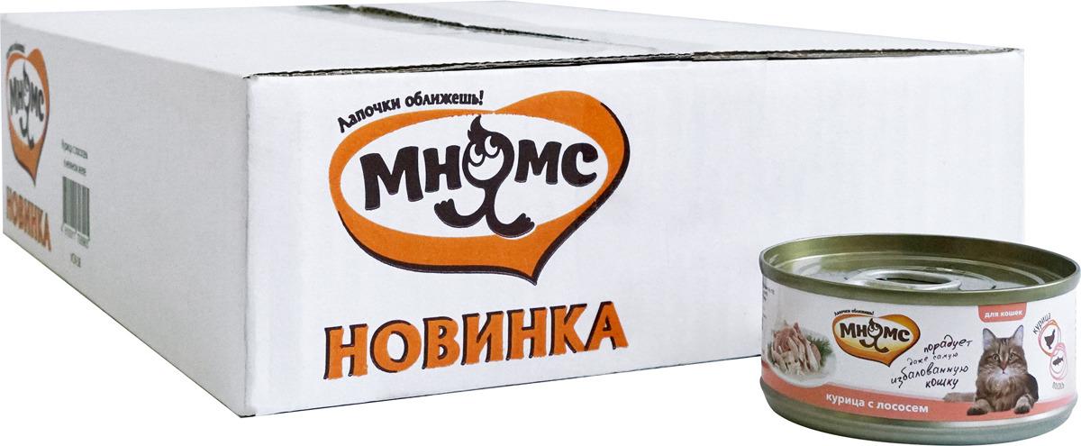 Консервы для кошек Мнямс, с курицей и лососем, 70 г х 24 шт