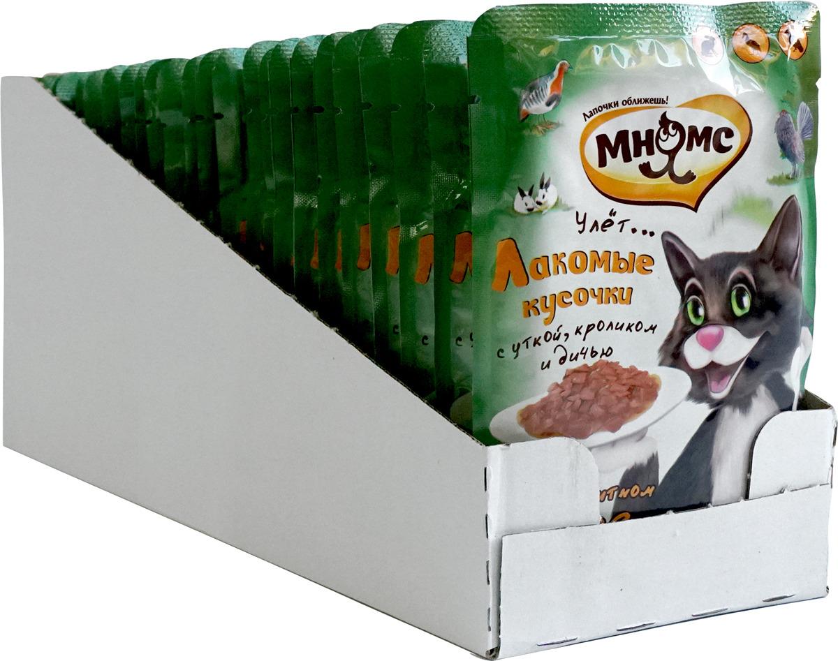 """Консервы Мнямс """"Пир охотника"""", для взрослых кошек, с уткой, кроликом и дичью, 100 г х 24 шт"""