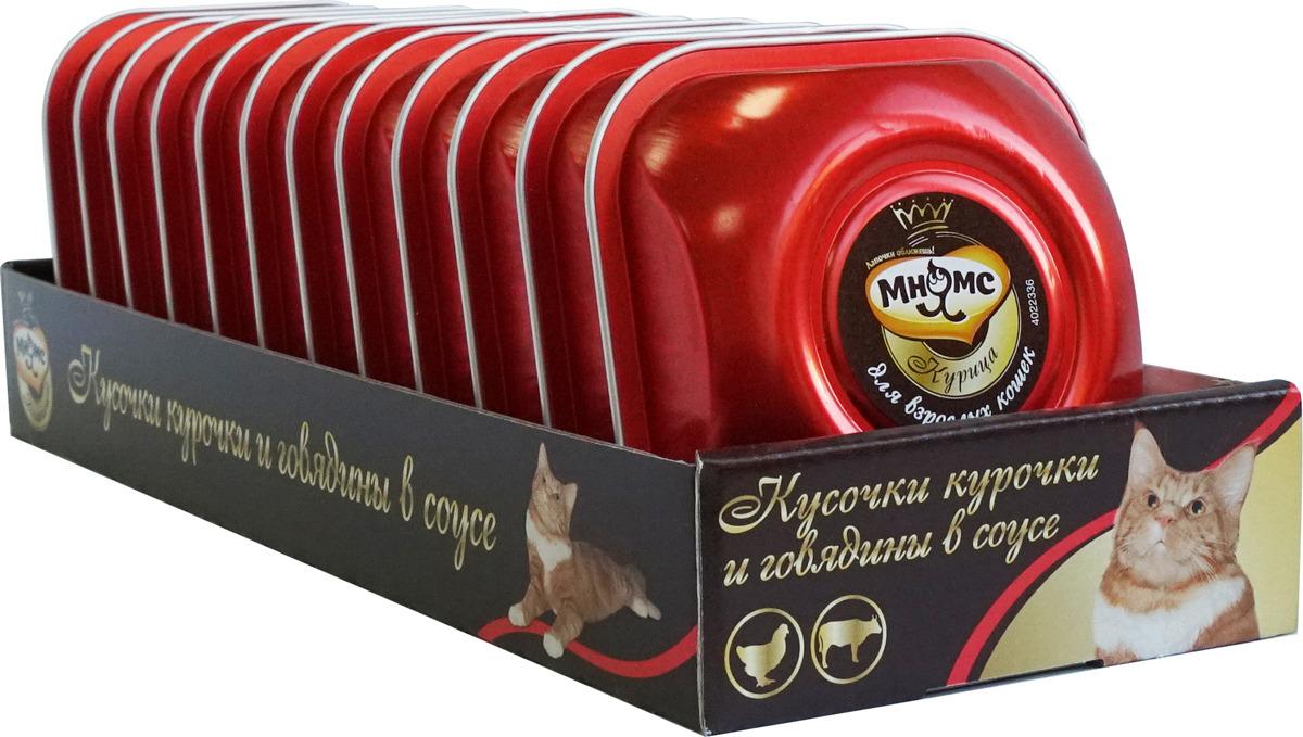 Консервы Мнямс Деликатес нежные кусочки курочки и говядины в соусе, для взрослых кошек, 85 г х 12 шт мнямс мнямс деликатес нежные кусочки кролика и печени в соусе для взрослых кошек 85 г х 12 шт