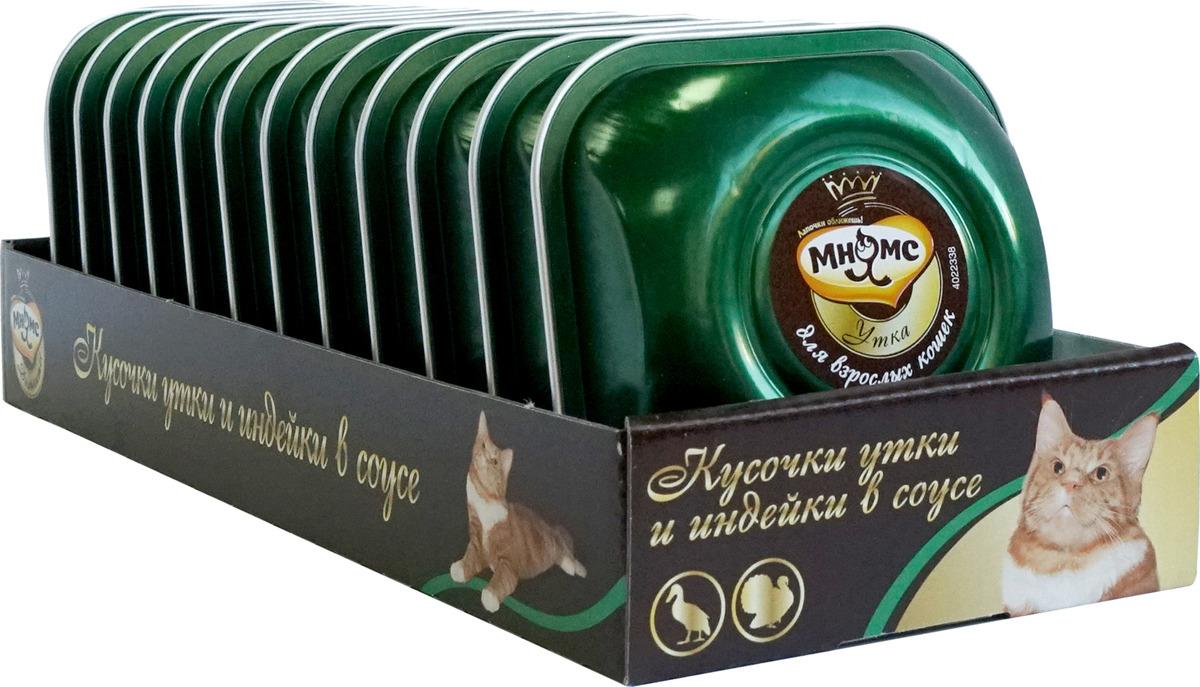 Консервы Мнямс Деликатес нежные кусочки утки и индейки в соусе, для взрослых кошек, 85 г х 12 шт мнямс мнямс деликатес нежные кусочки кролика и печени в соусе для взрослых кошек 85 г х 12 шт