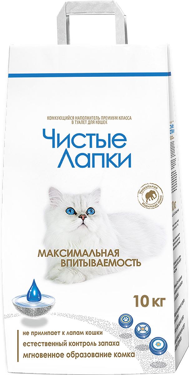 Наполнитель для кошачьего туалета Чистые Лапки, комкующийся, 10 кг наполнитель для кошачьего туалета catsan 9572 ультра комкующийся 5л