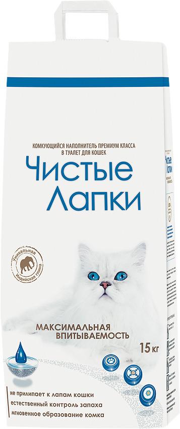 Наполнитель для кошачьего туалета Чистые Лапки, комкующийся, 15 кг наполнитель для кошачьего туалета catsan 9572 ультра комкующийся 5л