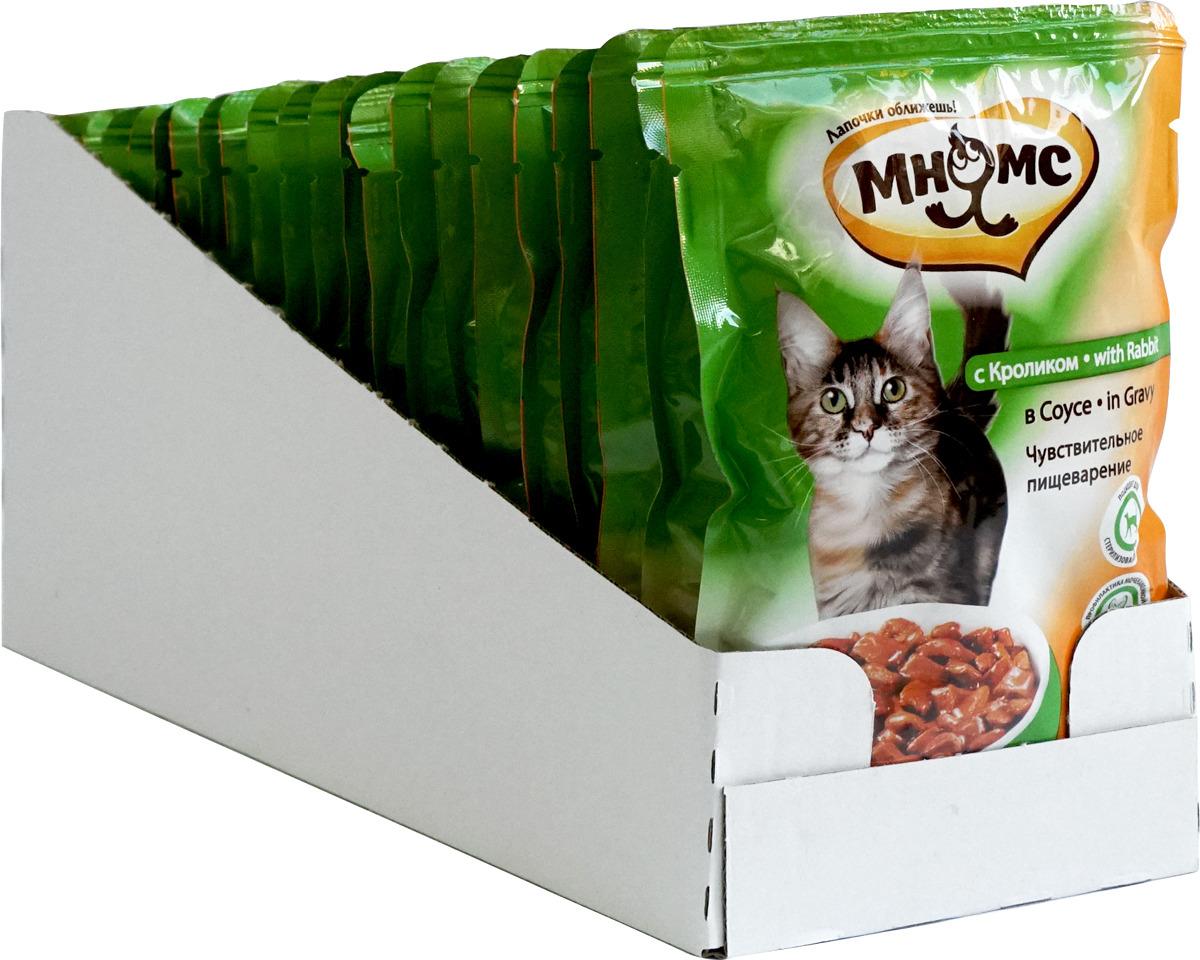 """Консервы для взрослых кошек Мнямс """"Чувствительное пищеварение"""", в соусе, с кроликом, 100 г х 24 шт"""