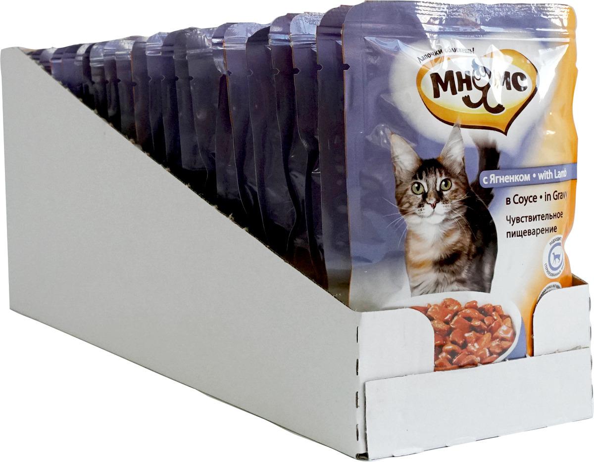 """Консервы для взрослых кошек Мнямс """"Чувствительное пищеварение"""", в соусе, с ягненком, 100 г х 24 шт"""