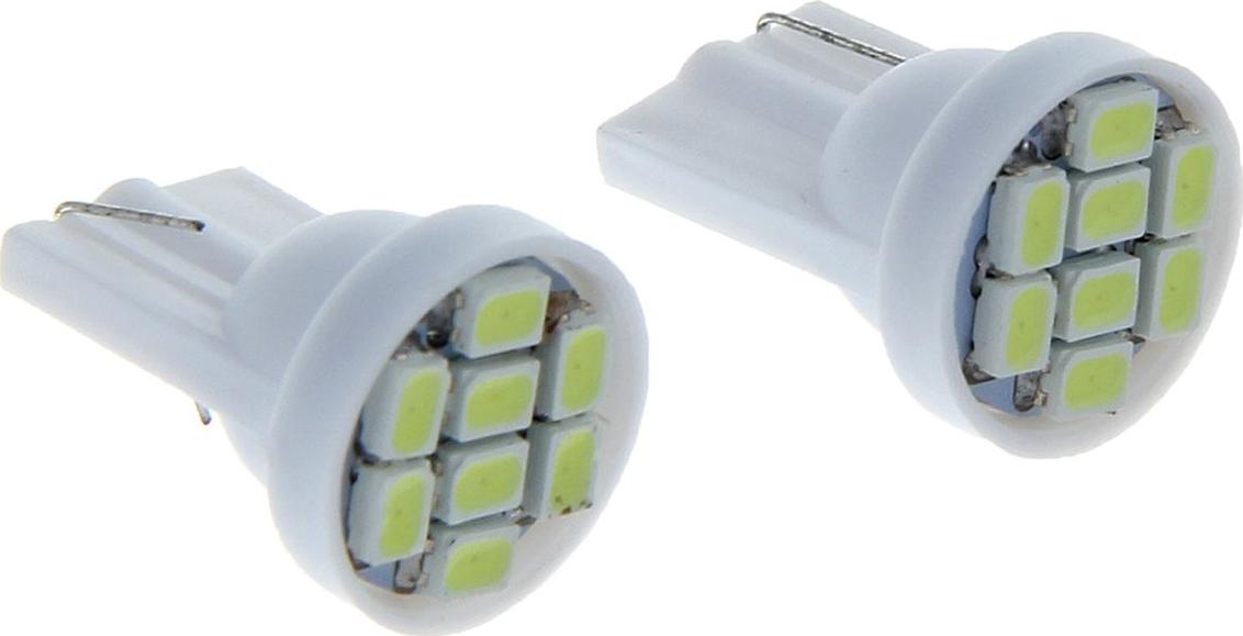Комплект светодиодных ламп Torso T10 W5W, 12 В, 8 SMD-3528, свет белый, 2 шт. 1059207
