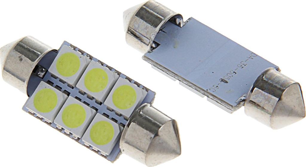 Комплект светодиодных ламп Torso C5W, 36 мм, 12 В, 6 SMD-5050, свет белый, 2 шт. 1059224