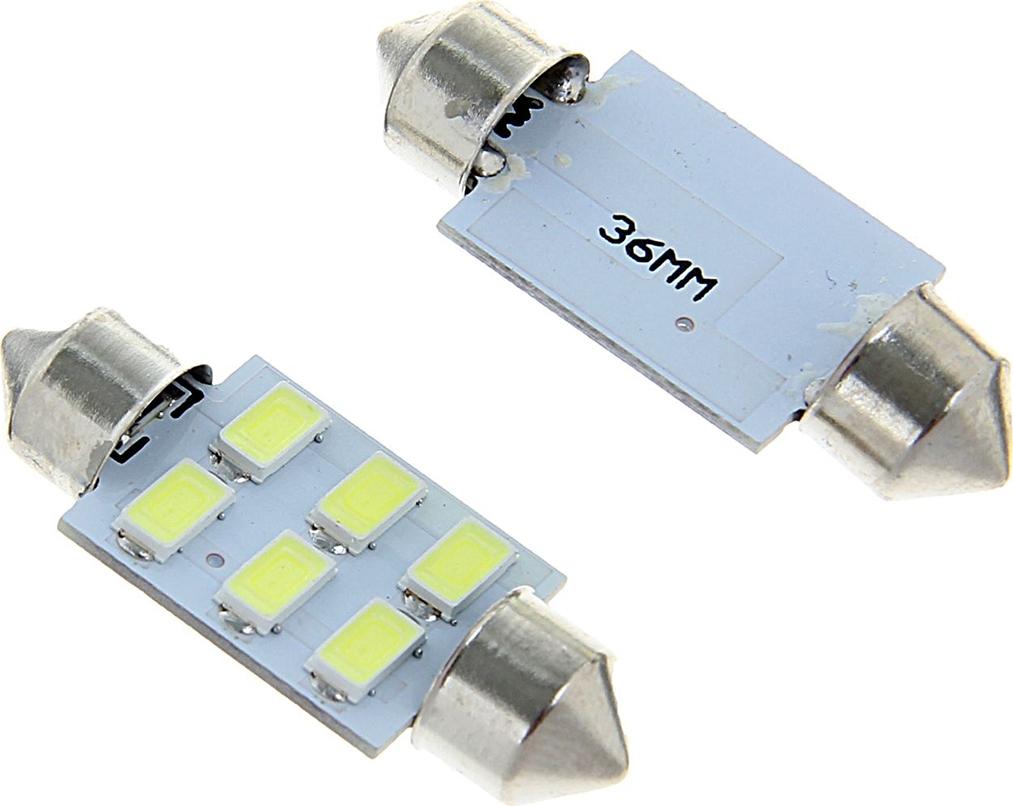 Комплект светодиодных ламп Torso C5W, 36 мм, 12 В, 6 SMD-5630, свет белый, 2 шт. 1059226