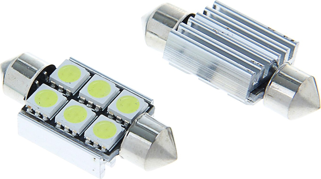 Комплект светодиодных ламп Torso C5W, 36 мм, 12 В, 6 SMD-5050 с обманкой, 2 шт. 1059229
