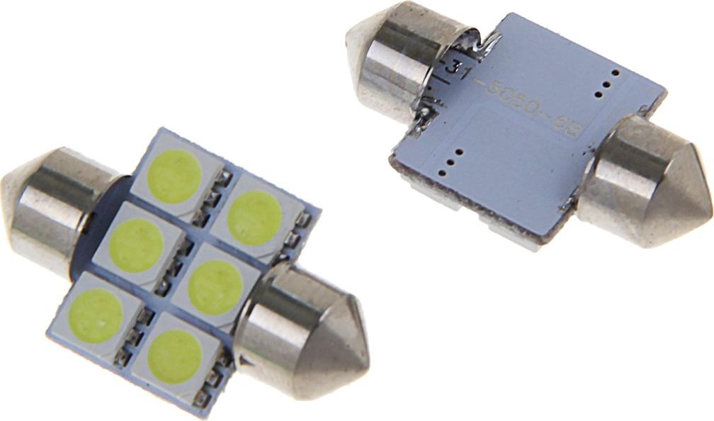 Комплект светодиодных ламп Torso C5W, 31 мм, 12 В, 6 SMD-5050, свет белый, 2 шт. 1059232