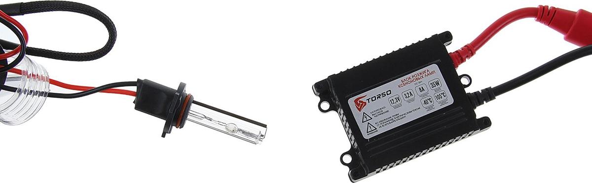 Комплект ксеноновых ламп Torso, блок розжига DC Slim, 35 Вт, 12 В, цоколь H10, 4300 К. 1059309