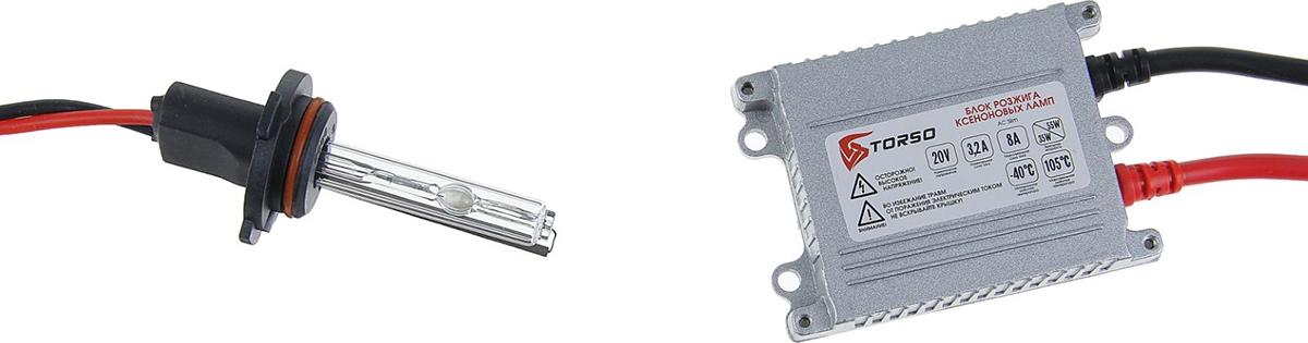 Комплект ксеноновых ламп Torso, блок розжига AC Slim, 35 Вт, 12 В, цоколь HB4 (9006), 4300 К. 1059352