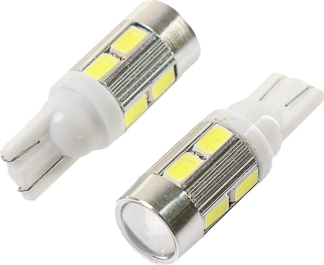 Комплект светодиодных ламп Torso T10 W5W, 12 В, 10 SMD-5630, свет белый, 2 шт. 2612657 t10 5w 450lm 10 smd 5630 led yellow light car clearance signal lamps dc 12v 2 pcs