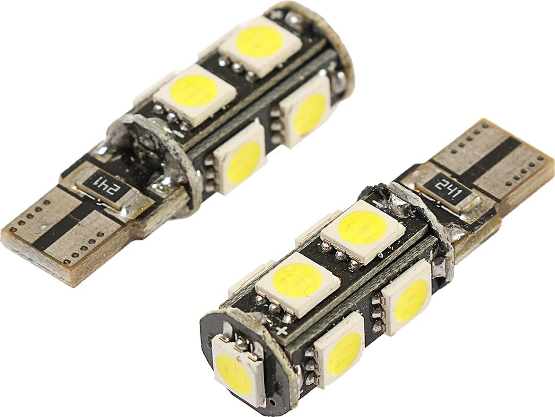 Комплект светодиодных ламп Torso T10 W5W, 12 В, 9 SMD-5050, корпус черный, свет белый, 2 шт. 2612687