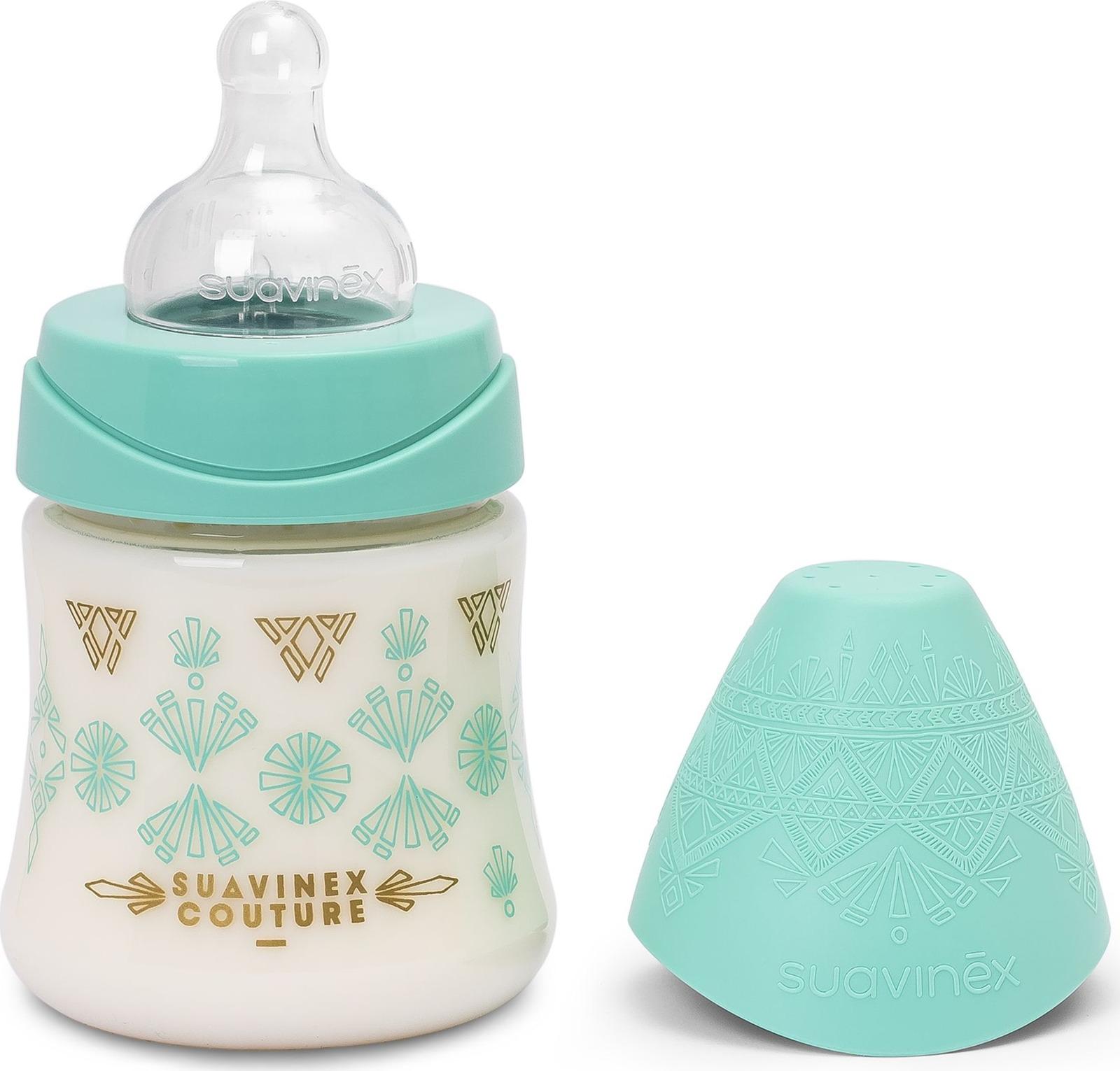 Бутылочка для кормления Suavinex Haute Couture, от 0 месяцев, с силиконовой круглой соской, 3162101, зеленый, 150 мл lubby бутылочка для кормления с силиконовой соской малыши и малышки от 0 месяцев цвет зеленый голубой 250 мл