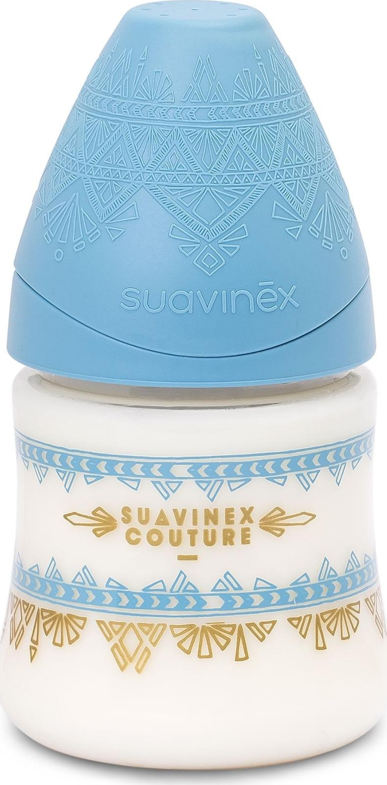 Бутылочка для кормления Suavinex Haute Couture, от 0 месяцев, с силиконовой круглой соской, 3162101, голубой, 150 мл цена