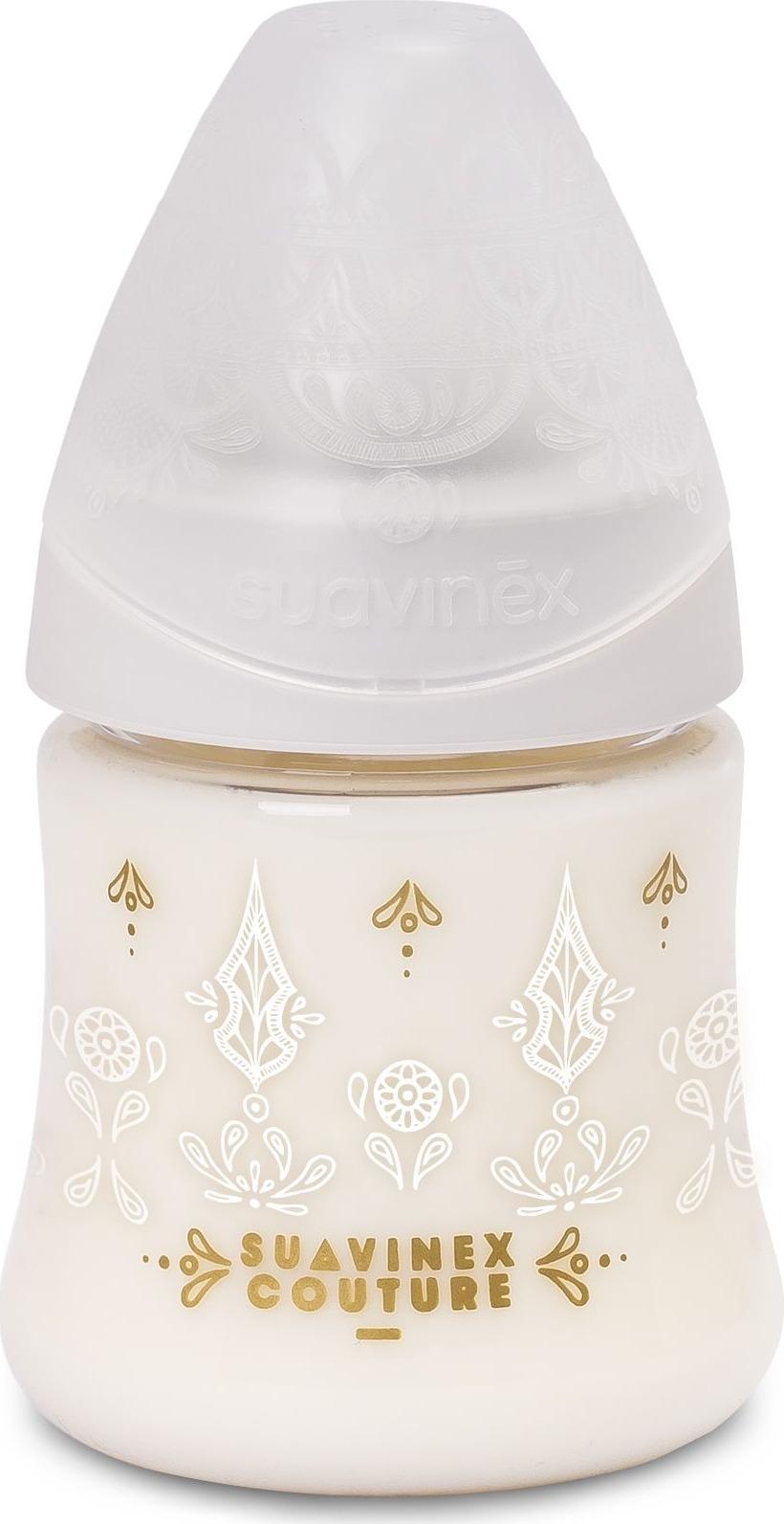 Бутылочка для кормления Suavinex Haute Couture, от 0 месяцев, с силиконовой круглой соской, 3162101, белый, 150 мл цена