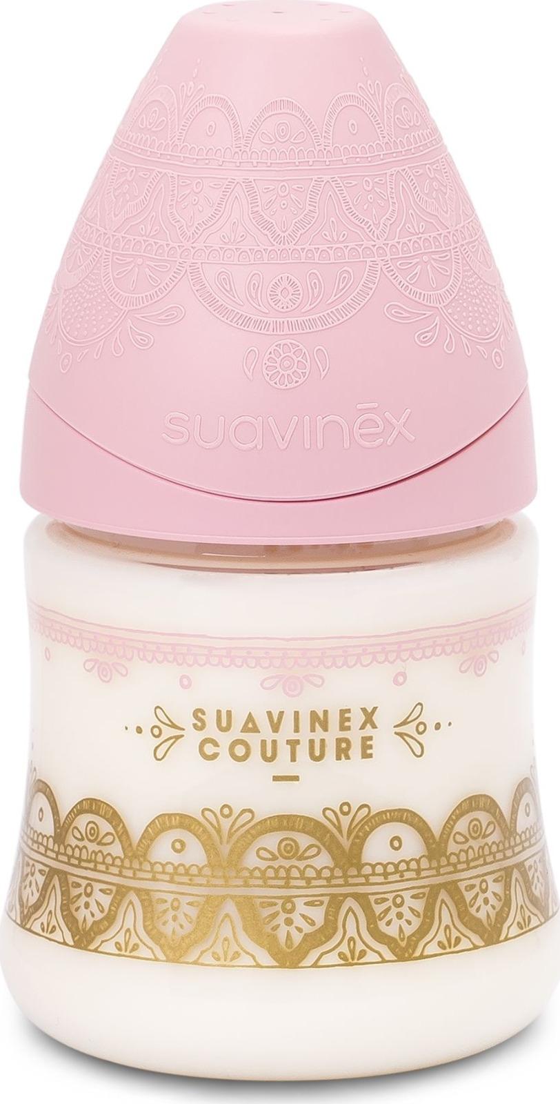 Бутылочка для кормления Suavinex Haute Couture, от 0 месяцев, с силиконовой круглой соской, 3162101, розовый, 150 мл mepsi бутылочка для кормления с силиконовой соской от 0 месяцев цвет синий 250 мл