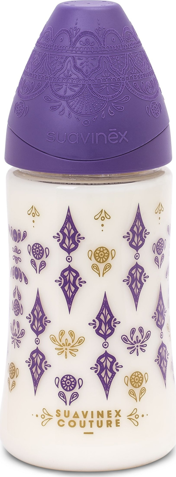 Бутылочка для кормления Suavinex Haute Couture, от 0 месяцев, с силиконовой круглой соской, 3162102, фиолетовый, 270 мл цена