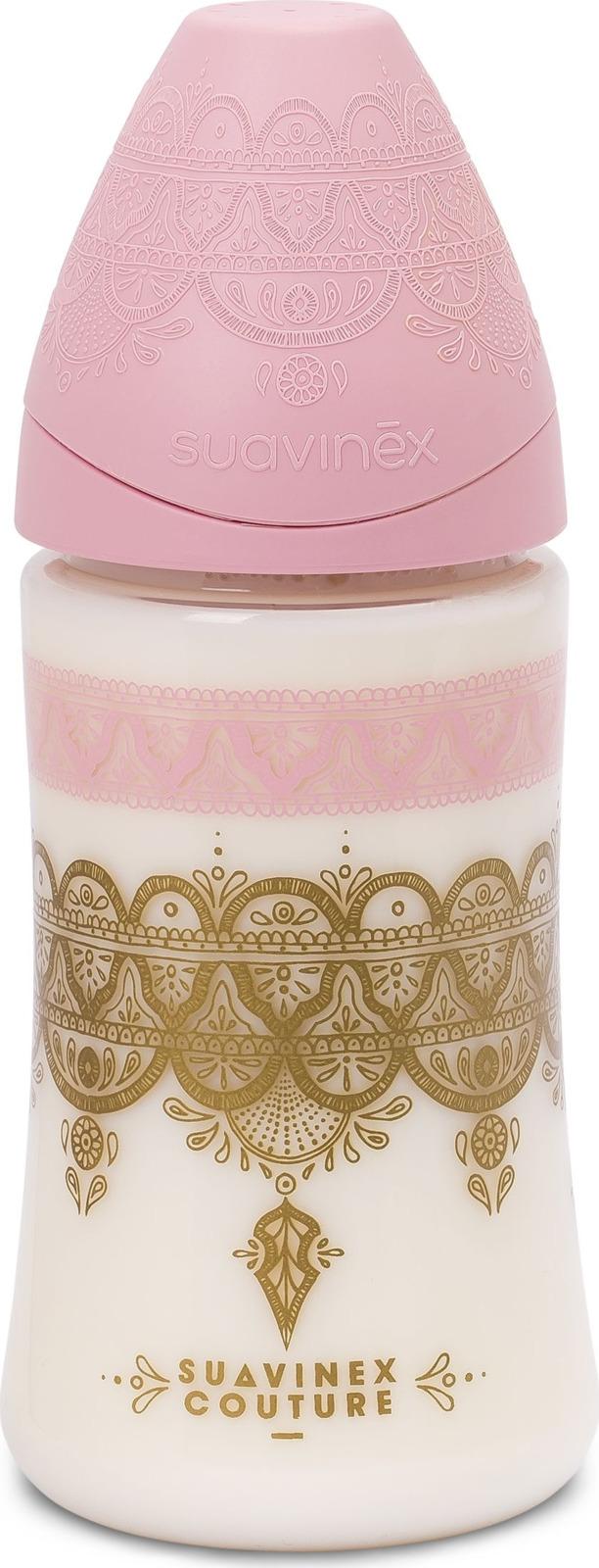 Бутылочка для кормления Suavinex Haute Couture, от 0 месяцев, с силиконовой круглой соской, 3162102, розовый, 270 мл mepsi бутылочка для кормления с силиконовой соской от 0 месяцев цвет синий 250 мл