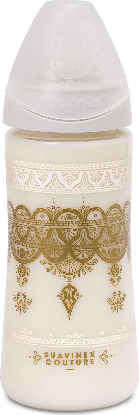 Бутылочка для кормления Suavinex Haute Couture, от 4 месяцев, с силиконовой круглой соской, 3173346, белый, 360 мл мир детства бутылочка с силиконовой соской от 0 месяцев цвет оранжевый 250 мл