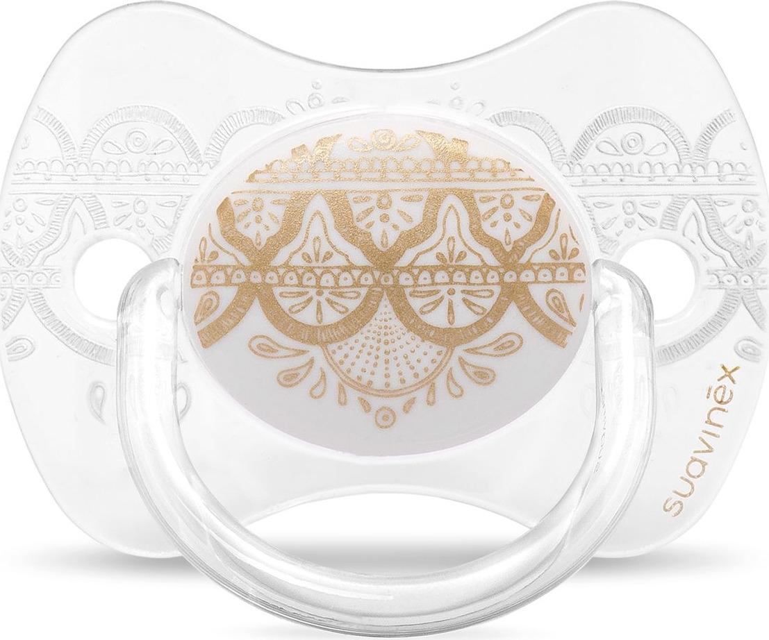 Пустышка Suavinex Haute Couture, от 0-4 месецев, с силиконовой физиологической соской, цвет: белый suavinex с физиологической соской латекс 18 мес 2 шт