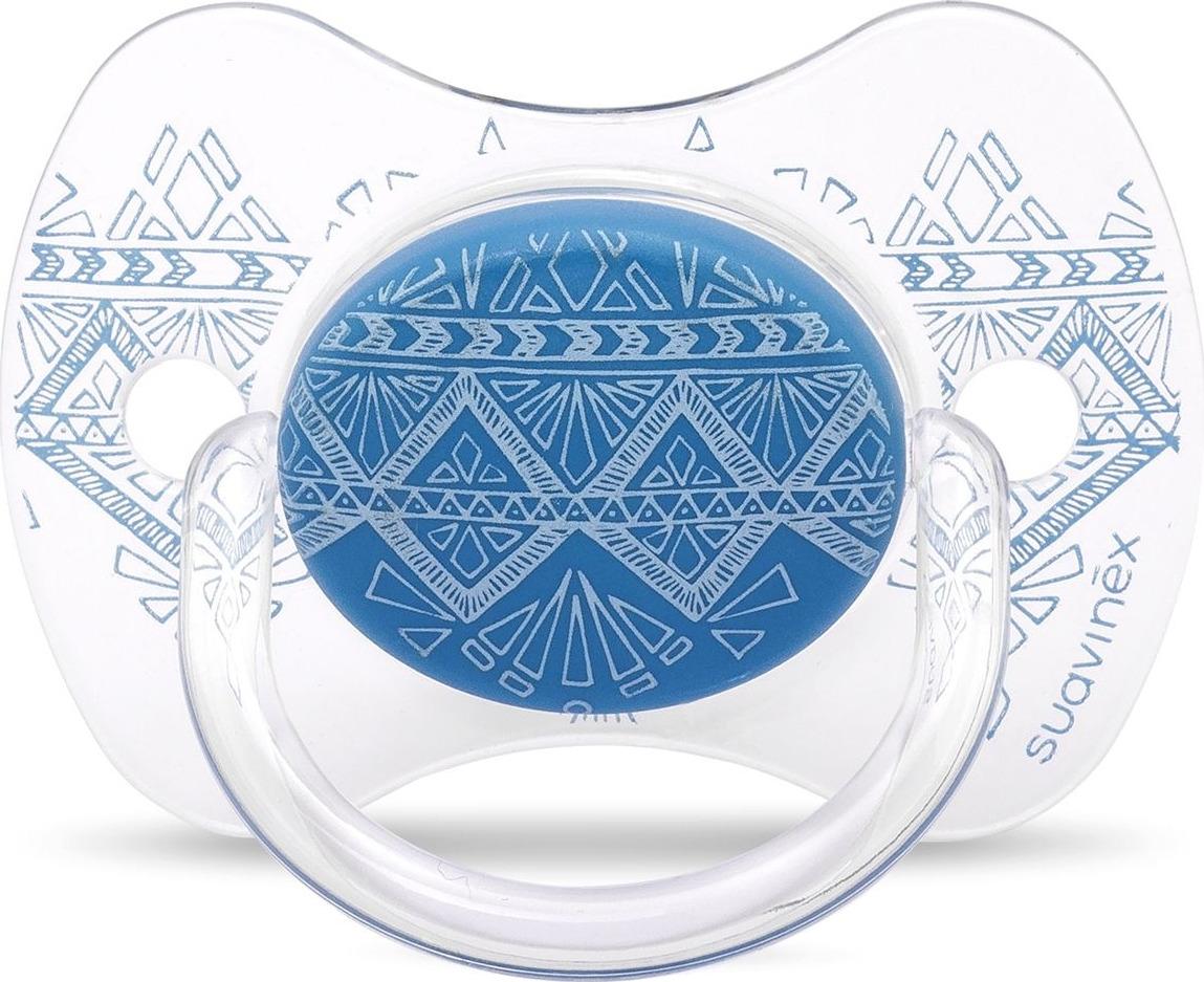 Пустышка Suavinex Haute Couture, от 4-18 месяцев, с силиконовой физиологической соской, цвет: синий suavinex с физиологической соской латекс 18 мес 2 шт