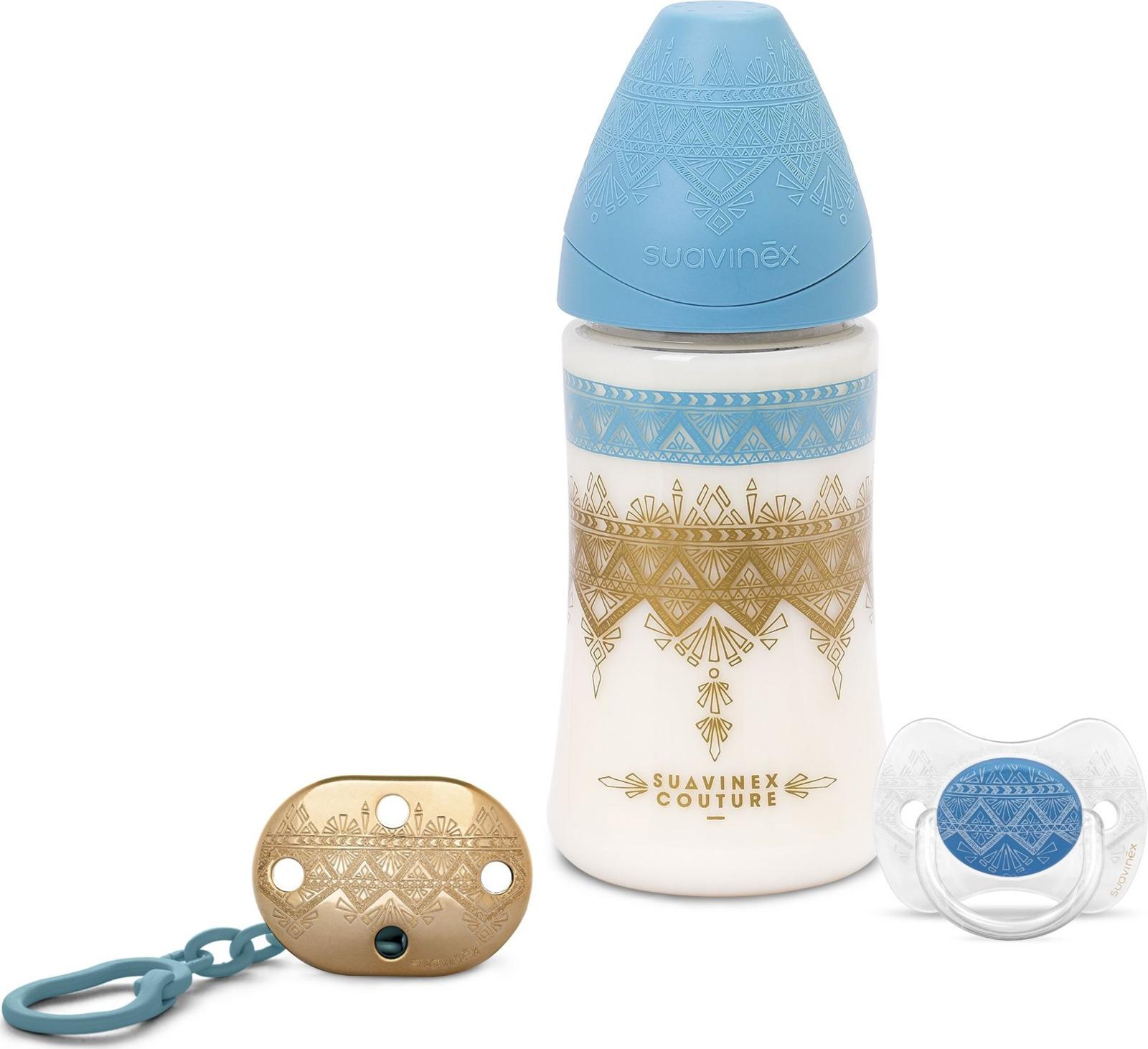 Набор Suavinex, от 0 месяцев: бутылочка с круглой силиконовой соской, 270 мл + пустышка + держатель, цвет: голубой suavinex бутылочка от 0 месяцев с силиконовой соской цвет бирюзовый 270 мл