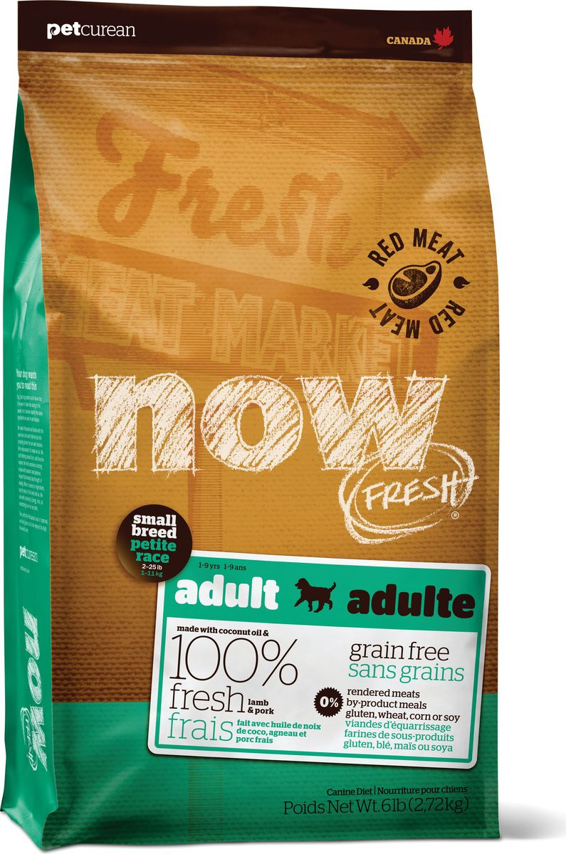 все цены на Корм сухой Now Fresh, для взрослых собак малых пород, беззерновой, с ягненком и овощами, 5,45 кг онлайн