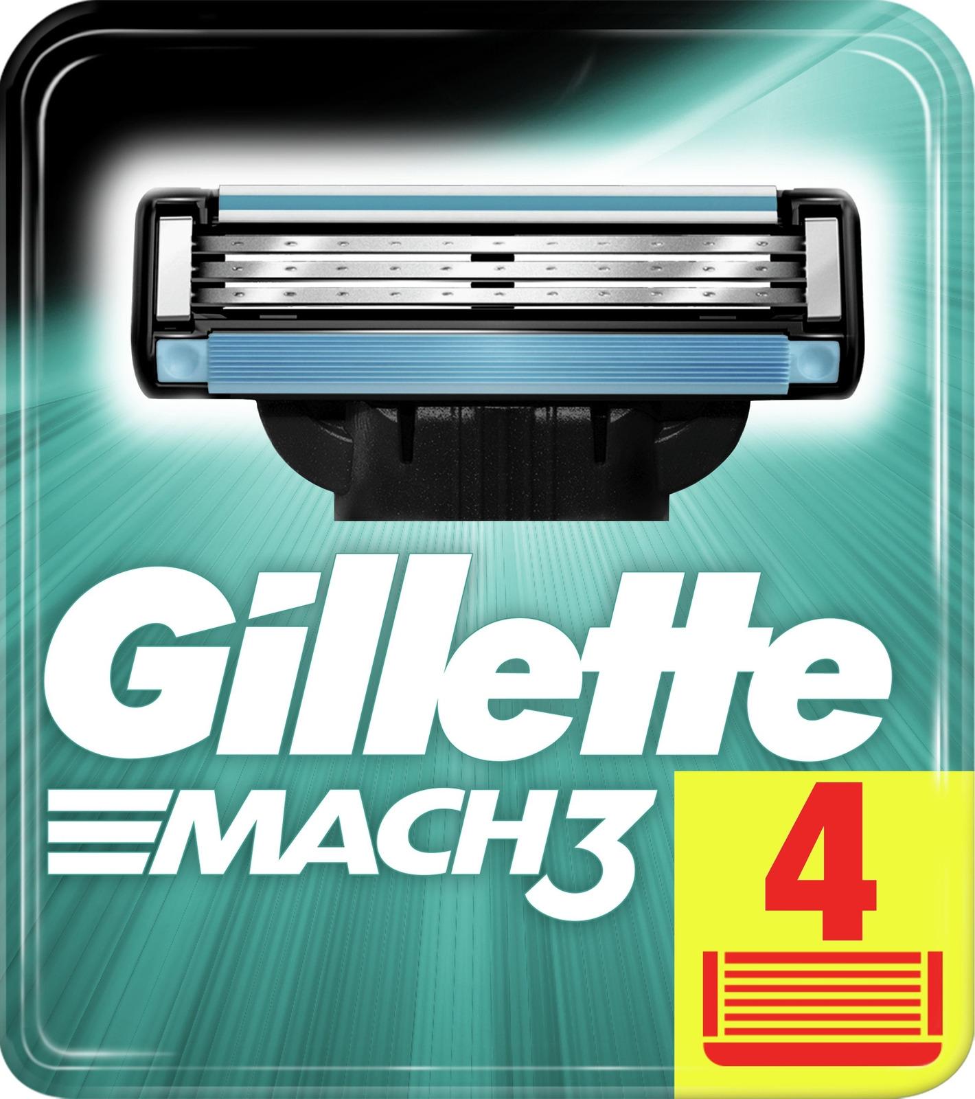 Сменные Кассеты Gillette Mach3 для Мужской Бритвы, 4 шт